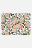 Personalized Swaddle - Peach and green Blooms - Blush - howjoyfulshop