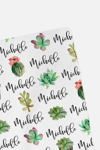CUSTOM NAME Swaddle - Succulents - 0P53