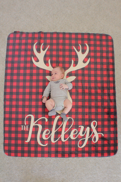 Fleece Blanket - Plaid - Deer with custom name