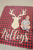 Fleece Blanket - Plaid - Deer with custom name - howjoyfulshop