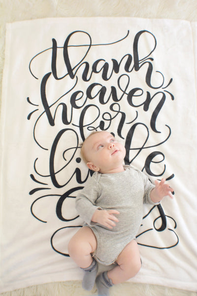 Blanket - Gender announcement blanket - Thank heaven for little girls - LAP size - SALE - howjoyfulshop