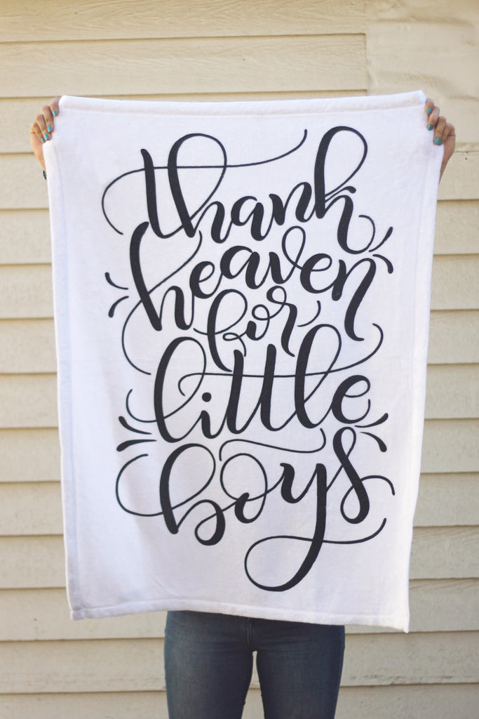 Fleece Blanket - Gender announcement blanket - Thank heaven for little boys