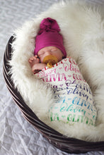 Load image into Gallery viewer, Rainbow Baby- Personalized Swaddle - Rainbow color - Birth announcement - howjoyfulshop