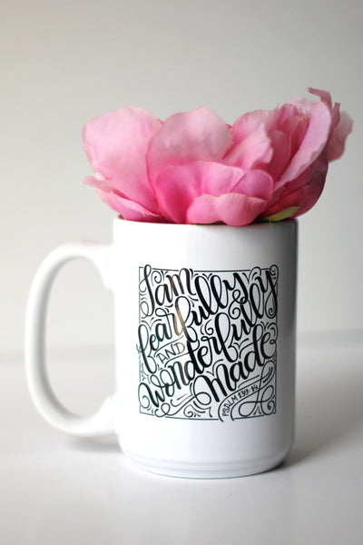 Mug - I am fearfully and wonderfully made - Psalm 139:14 - howjoyfulshop