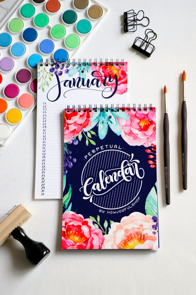 Watercolor perpetual calendar - Hand lettered calendar with watercolor flowers