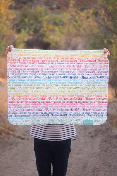 Swaddle - Organic cotton - LAP SIZE - Rainbow - You can do anything - SALE - howjoyfulshop