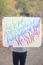 Cargar imagen en el visor de la galería, Swaddle - The lord is my shepherd, I will not be afraid - PSLAM 23 - Rainbow baby - howjoyfulshop