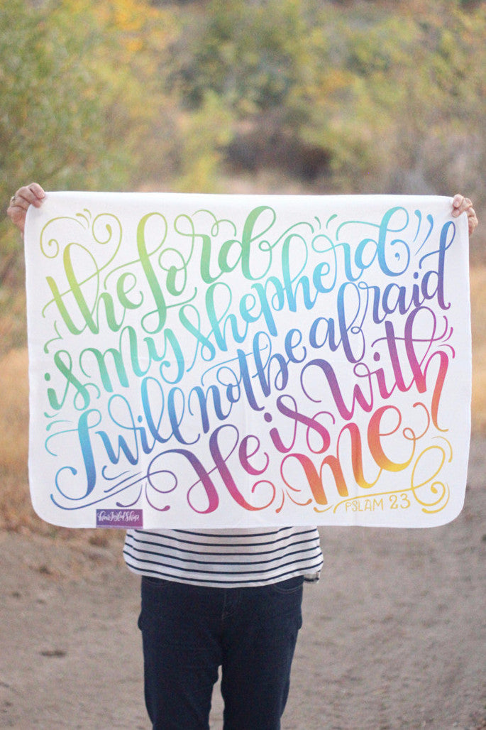 Swaddle - The lord is my shepherd, I will not be afraid - PSLAM 23 - Rainbow baby - howjoyfulshop