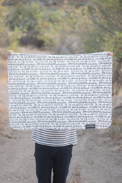 Swaddle - You are our greatest adventure - Small pattern - LAP SIZE - SALE - howjoyfulshop
