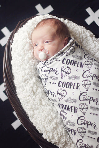 CUSTOM NAME Swaddle - Hot air balloon - howjoyfulshop