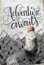 Load image into Gallery viewer, Swaddle - Organic cotton - LAP SIZE - Adventure awaits - SALE - howjoyfulshop