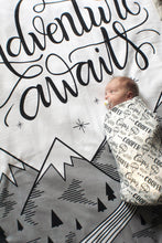 Load image into Gallery viewer, FLAW - Fleece - Swaddle - Adventure awaits - LAP SIZE - SALE - howjoyfulshop