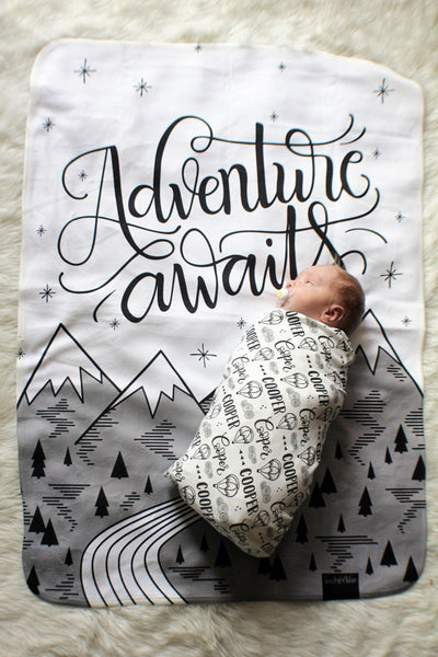 Swaddle - Organic cotton - LAP SIZE - Adventure awaits - SALE - howjoyfulshop