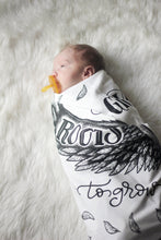 Load image into Gallery viewer, Swaddle - Organic cotton - LAP SIZE - I will give you wings to fly and roots to grow - SALE - howjoyfulshop