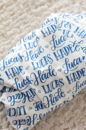 Personalized Swaddle - Hand-lettered name in one color - howjoyfulshop