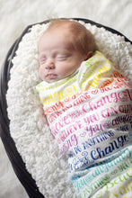 Load image into Gallery viewer, Swaddle - Rainbow - You can do anything - Believe you can change the world - howjoyfulshop