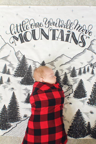 FLAW - Muslin cotton swaddle - Little one, you will move mountains - SALE - howjoyfulshop
