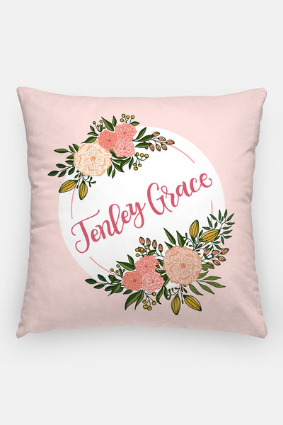 Pillow - Custom name - Blooms around - Pink - howjoyfulshop