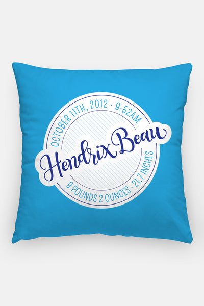 Pillow - Birth announcement - Custom colors - howjoyfulshop