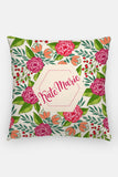 Pillow - Custom name - Tropical - Hot pink and green - howjoyfulshop