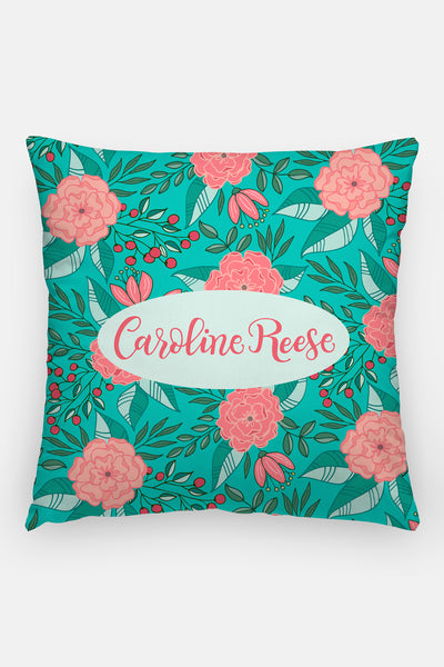 Pillow - Custom name - Tropical Turquoise - howjoyfulshop