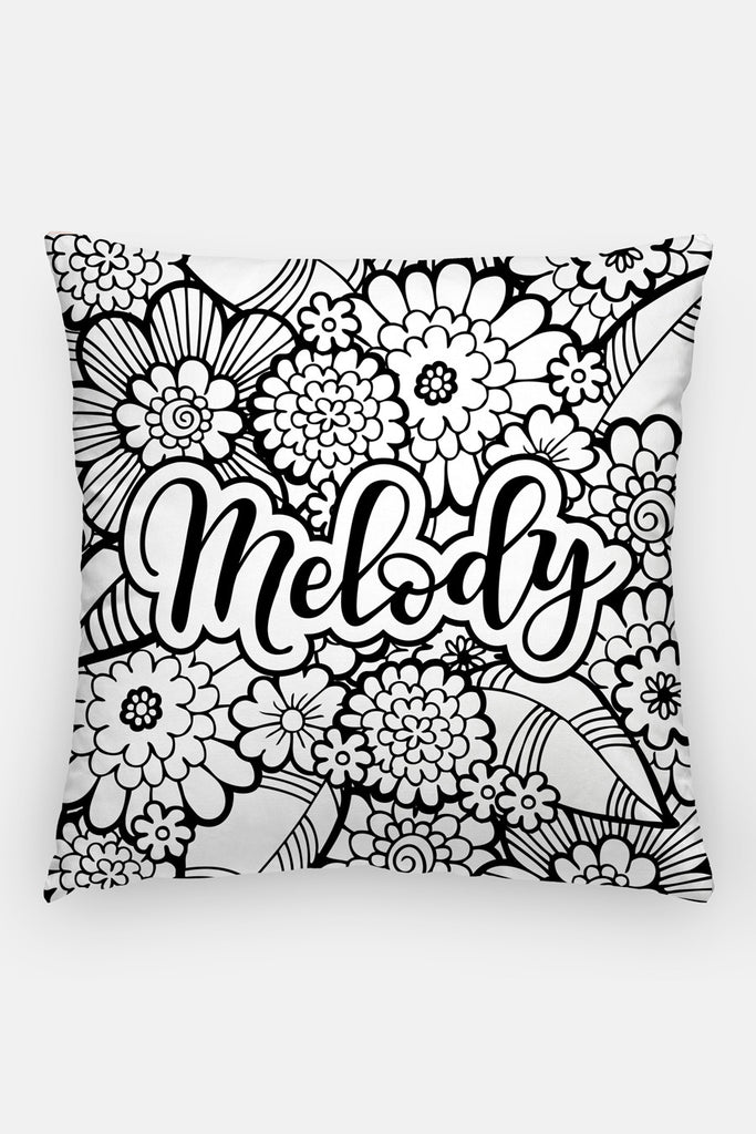 Pillow - Custom name - Bold blooms