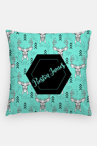 Pillow - Custom name - Deer - Mint