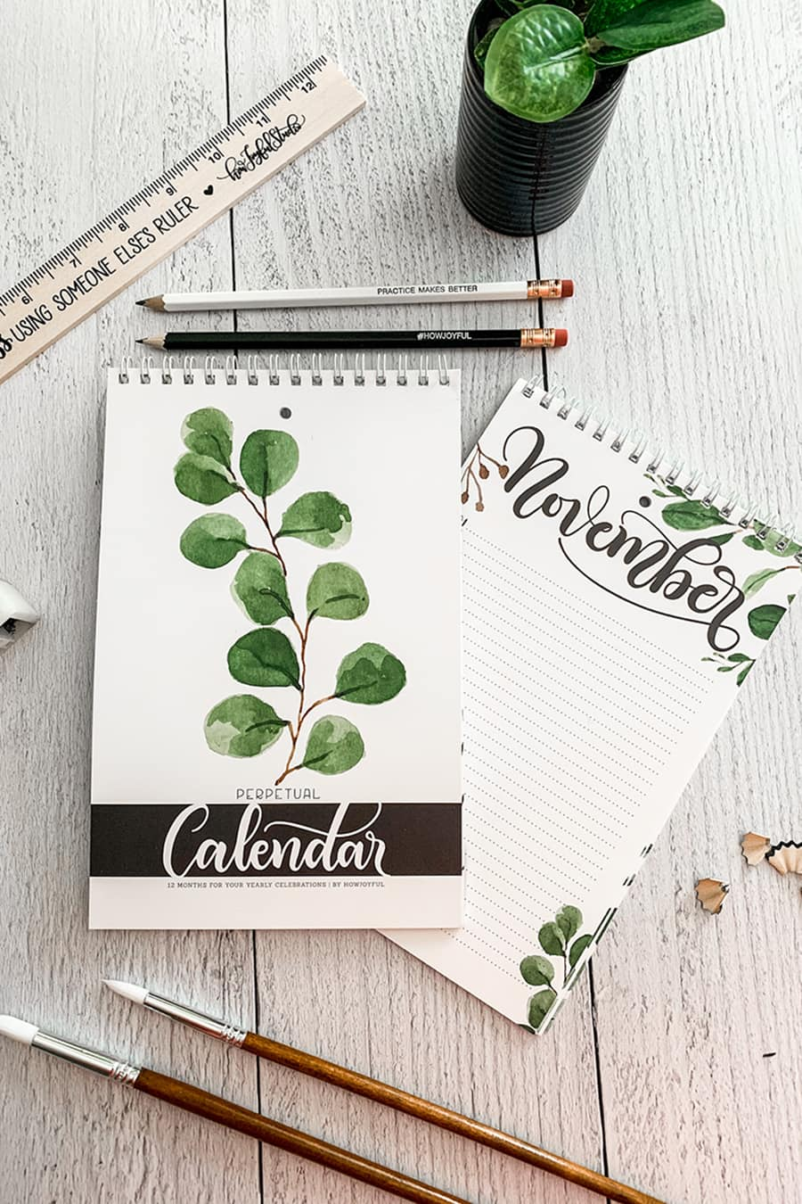 Farmhouse perpetual calendar - Hand lettered calendar with watercolor foliage