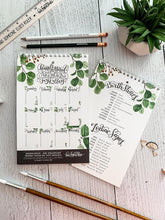 Load image into Gallery viewer, Farmhouse perpetual calendar - Hand lettered calendar with watercolor foliage