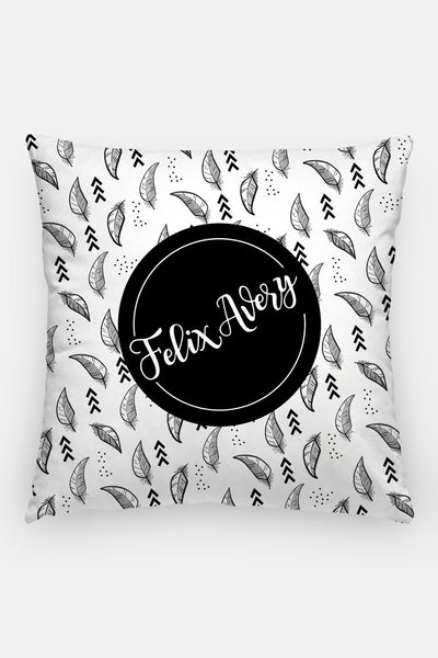 Pillow - Custom name - Feather - Black and white - howjoyfulshop