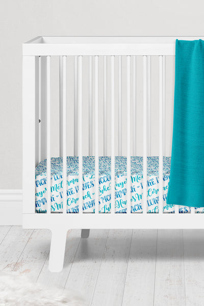 Crib sheet - Hearts blue pattern with two custom colors - howjoyfulshop
