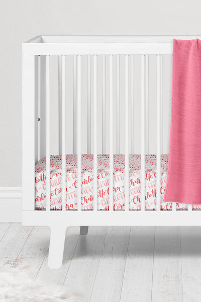 Crib sheet - Hearts coral shades pattern with two custom colors - howjoyfulshop