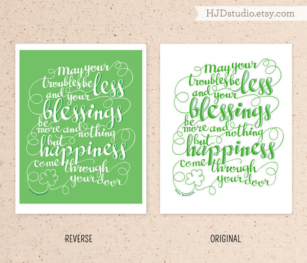 Art print - Irish blessing - St. Patricks Day - howjoyfulshop