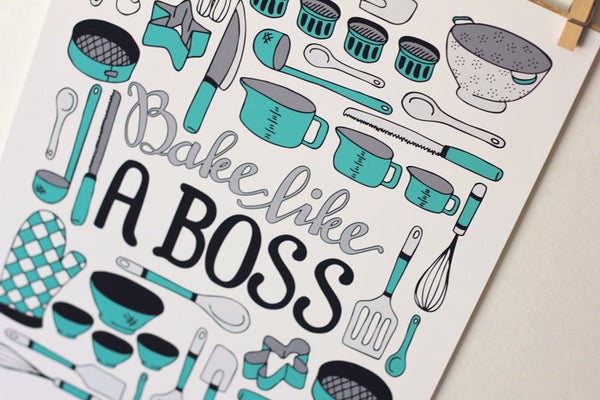Art print - Bake like a Boss - Kitchen print - howjoyfulshop
