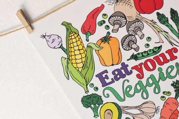 Art print - Eat you Veggies - Kitchen print - howjoyfulshop
