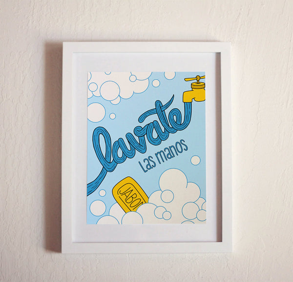 Art print - Lavate las manos - spanish wash your hands - howjoyfulshop