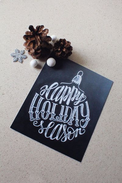 "Art print - Holiday sign - 8x10"" Happy Holiday Season - Ornament art print - howjoyfulshop"