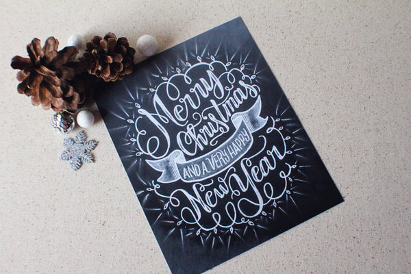 "Art print - Holiday sign - 8x10"" Merry Christmas and a very happy New Year - howjoyfulshop"