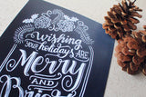 "Art print - Merry and Bright sign - 8x10"" Wishing your holidays are Merry and Bright - howjoyfulshop"