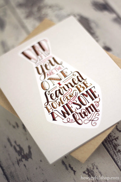 Card - Dad you are the one I learned how to be awesome from - howjoyfulshop