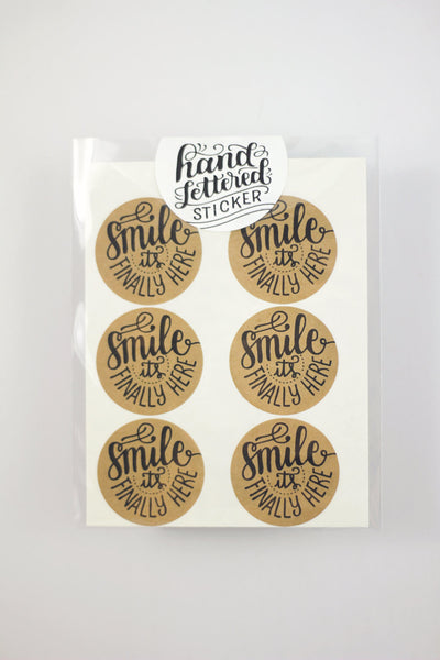 Set of 12 Kraft Stickers - Smile it's finally here - howjoyfulshop