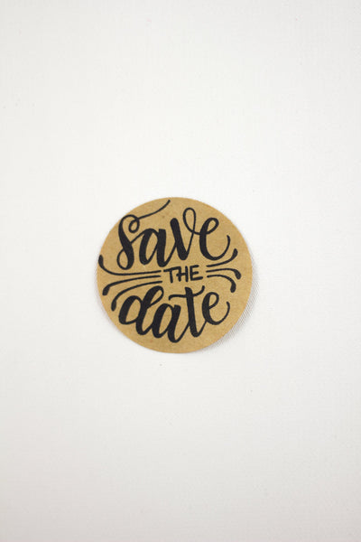 Set of 12 Kraft Stickers - Save the date