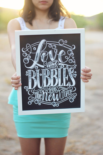 "Art print - Wedding - 11x14"" Love and bubbles for the new couple - howjoyfulshop"
