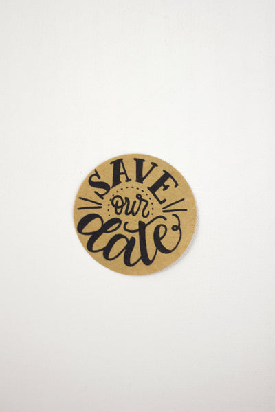 Set of 12 Kraft Stickers - Save our date - howjoyfulshop