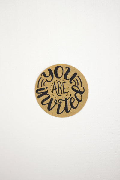 Set of 12 Kraft Stickers - You are invited - howjoyfulshop