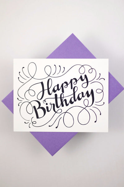 Happy Birthday - one white card with a purple envelope - howjoyfulshop