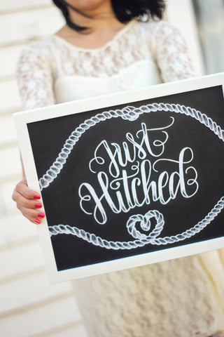 "Art print - Wedding - 11x14"" Just Hitched - Getaway car - howjoyfulshop"