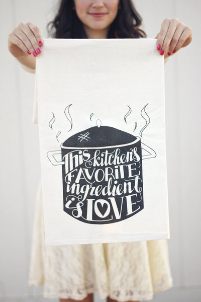 Tea towel - This kitchens favorite ingredient is LOVE - howjoyfulshop