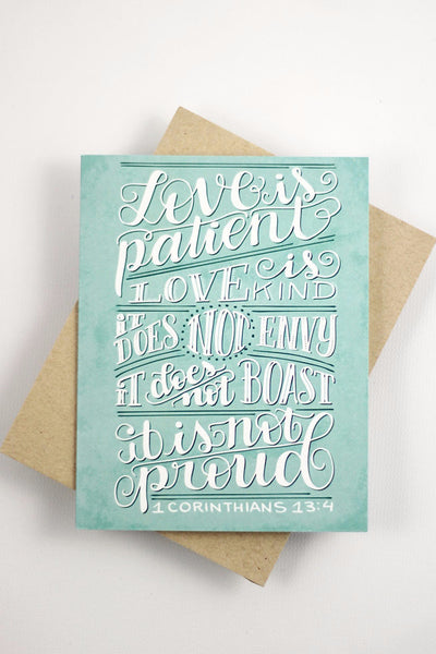 Card - Love is patient, love is kind - 1 corinthians 13:4 - howjoyfulshop