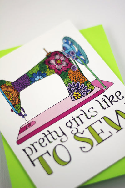 Card - Pretty girls love to sew - howjoyfulshop